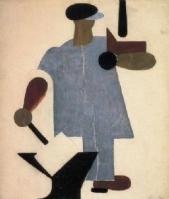 Vinatge Russian poster - Worker with a hammer (industry into one's hands) 1920
